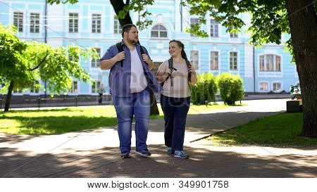 Student Male And Female Walking In Campus Park, Flirting On Date, Fat Couple