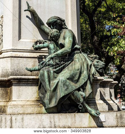 Lisbon - August 28, 2019: Magnificent Allegory Of A Woman And A Child Representing The Abolition Of