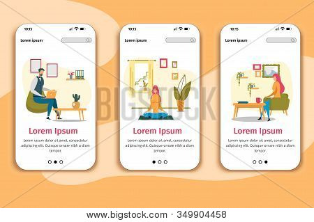Work And Recreation At Home Responsive Design Mobile Page Flat Phone Onboard Screens Set. Man Workin