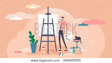 Drawing Or Painting Concept, Flat Tiny Person Vector Illustration. Stylized Artists Workshop Activit