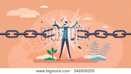 Break Free Concept,flat Tiny Person Vector Illustration.achieving Personal Freedom.independence Ment