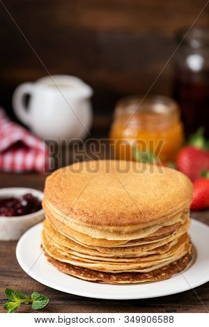 Crepes, Russian Blini On White Plate. Maslenitsa, Shrove Tuesday National Holiday Concept. Copy Spac