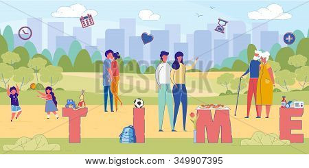 Spending Quality Time Together Word Concept Banner. Family, Parents And Children Enjoying Outdoor Ac