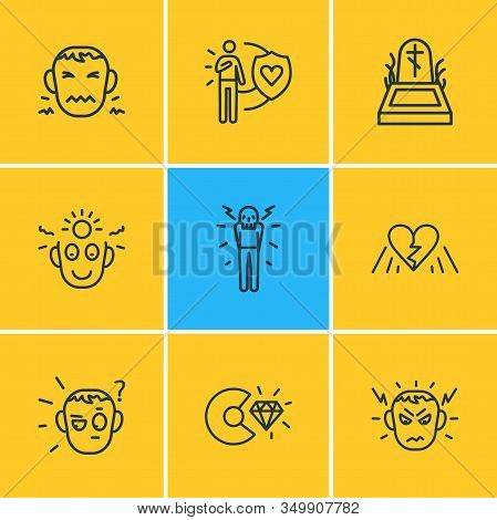 Vector Illustration Of 9 Emoticon Icons Line Style. Editable Set Of Broken Heart, Death, Honesty And