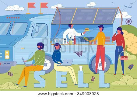 Selling Food From Burger Truck Word Concept Banner. Street Fast Food Clients Buying Snacks Cartoon C