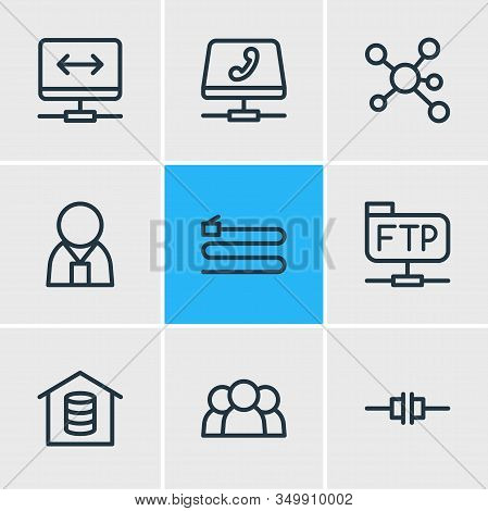Illustration Of 9 Network Icons Line Style. Editable Set Of Root Server, Voip Gateway, Administrator