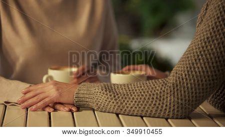 Female Covering Friend Hands Closeup, Friendship Support, Close Relations, Trust