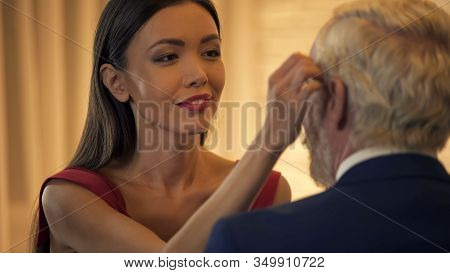 Sexy Young Lady Flirting With Old Business Man, Stroking Face, Escort Service