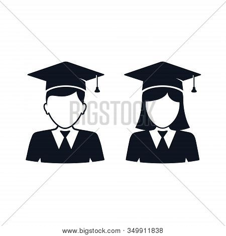 Graduate Student Girl And Boy In Square Hat Vector Icon. Female And Male In Mortar Hat And Graduatio