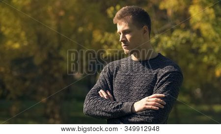 Worried Man Feeling Insecurities In Autumn Park, Life Difficulties, Problem