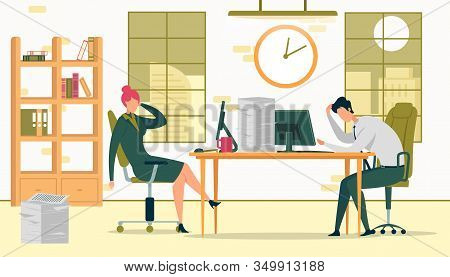 Business People Working Late Vector Illustration. Tired Coworkers, Exhausted Workers Cartoon Charact