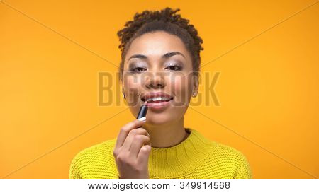 Stylish Young Woman Applying Nude Lipstick, Make-up Tips, Appearance Perfection