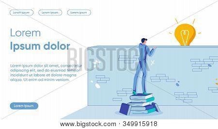 Idea Discovery Flat Landing Page Vector Template. Fresh Look, Insight Metaphor. Man Looking Over Wal