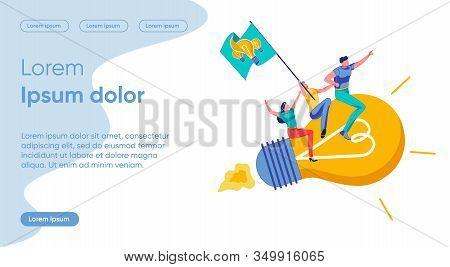 Idea Launch Flat Landing Page Vector Template. Start Up, Entrepreneurship Metaphor. Business Founder