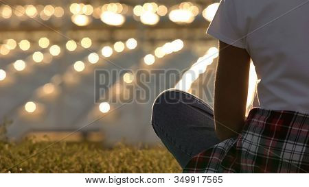 Romantic Woman Enjoying Beautiful City Scape, Sitting In Lotus Pose, Close Up