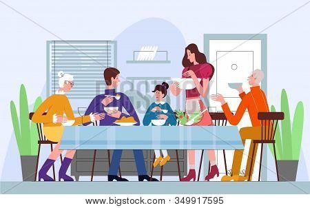 Family Dinner, Traditional Meal Vector Illustrationfamily Dinner