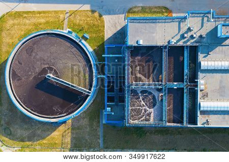 Water Treatment Plant Or Factory With Clarifier Sedimentation Tank, Aerial Top View.