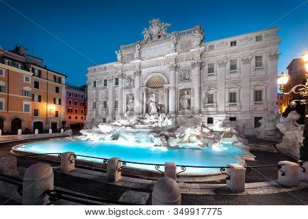 Trevi Fountain (fontana Di Trevi) In Rome, Italy. Trevi Is Most Famous Fountain Of Rome. Architectur