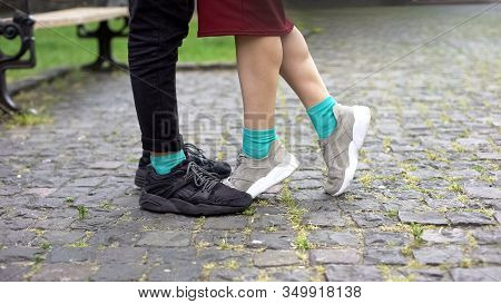 Legs Of Teens In Modern Comfortable Sneakers, Standing On Tiptoes, Sport Shoes