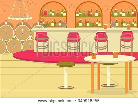 Old Tavern Interior Style. Beer And Wine Cellar With Wooden Barrels. Brick Walls In Bar Zone With Hu
