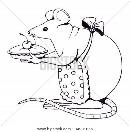 Line Drawing of Mouse With Pie
