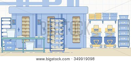 Bakery Production Industry Equipment. Bread And Dough Food Manufacturing Small Family Business Or Pr
