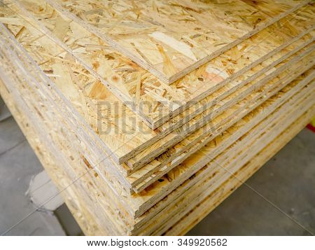 Osb Sheets Stacked In A Hardware Store. Construction Material