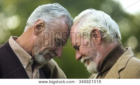 Aged Brothers Touching Heads, Family Connection, Friendship Support, Buddy