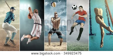 Collage of professional sport athlettes. Baseball, basketball, beach volleyball, soccer, football,swimming.