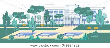 Modern Architecture University Building And Campus Park Background. Students Learning Or Administrat