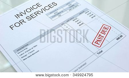 Past Due Seal Stamped On Invoice For Services Bill, Financial Form, Paperwork