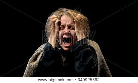 Desperate Woman Screaming In Sorrow, Suffering Mental Disorder, Nightmare