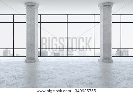 Minimalistic Gallery Interior With Two Columns And City View. Gallery, Advertisement, Presentation C