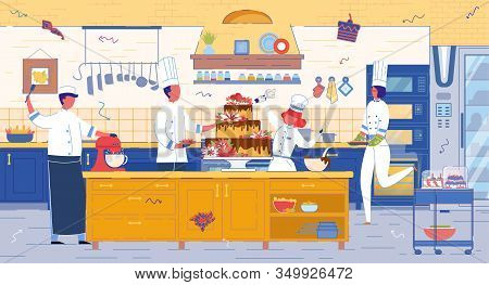 Confectionery Or Pastry Shop, Cafeteria Kitchen Professional Cooks Stuff Decorating Giant Cake. Bake