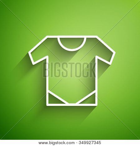 White Line Baby Onesie Icon Isolated On Green Background. Baby Clothes Symbol. Kid Wear Sign. Vector