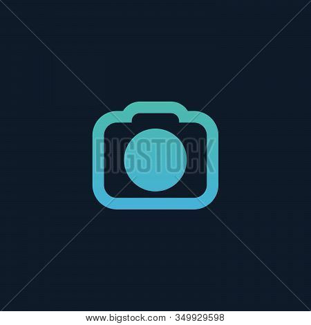 Camera Icon, Photographing Concept. Stock Vector Illustration Isolated On Blue Background.