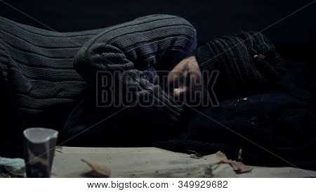 Homeless Person Sleeping On Street, Shelter For Poor People, City Panhandling