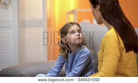 Mother And Daughter Talking, Mom Explaining How To Behave In Life Situations