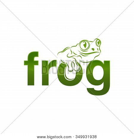 Frog Silhouette White Background Isolated Logo Icon Design Vector Illustration