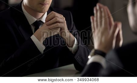 Lawyer Listening To Private Confession Of Suspect, Secret Testimony, Closeup