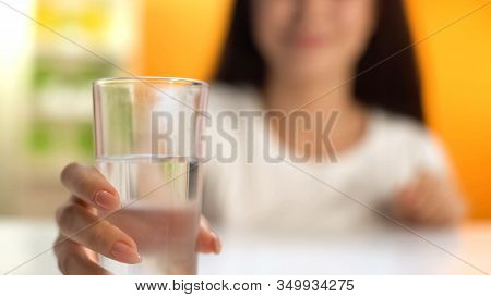 Woman Holding Fresh Water, Body Hydration, Beverage For Weight Loss, Refreshment