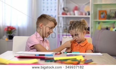 Playful Brother Touching Sisters Nose, Children Communication, Apologizing