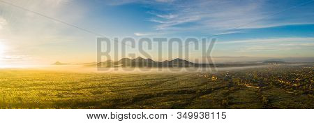 Panorama Image From A Drone Of Fog In The Sonoran Desert Of Arizona During Sunrise.
