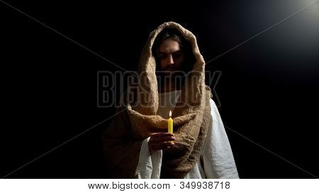 Messiah Holding Candle, Praying For People Sins Expiation, Belief And Kindness