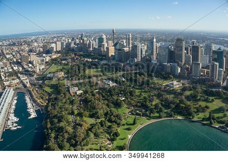 Aerial View Of Sydney Royal Botanic Garden Public Garden And Office Skyscrapers Of Sydney Central Bu