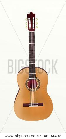 Hand Drawing of Classical Guitar on White Background