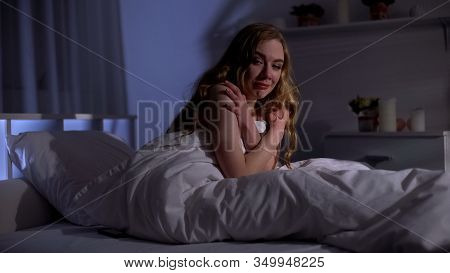 Depressed Girl Crying In Bed, Suffering Ptsd After Sexual Abuse, Humiliation