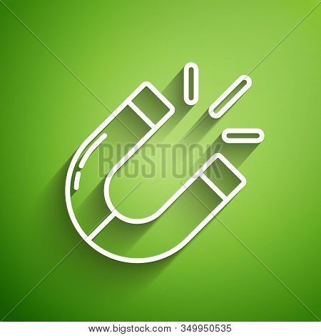 White Line Magnet Icon Isolated On Green Background. Horseshoe Magnet, Magnetism, Magnetize, Attract