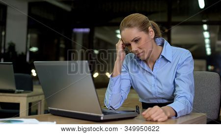 Lady Suffering Headache, Working Night Shift In Office, Overworking Problem
