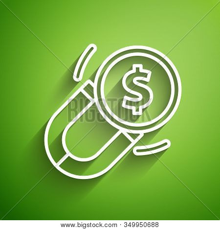 White Line Magnet With Money Icon Isolated On Green Background. Concept Of Attracting Investments. B
